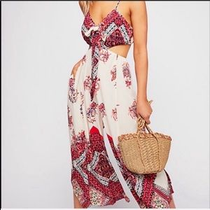 Free people jumpsuit open back gaucho style large